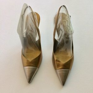 Guess Gold And Silver Toe Slingback Heels Size 7M
